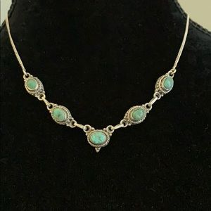 Delicate silver necklace with  stone detailing